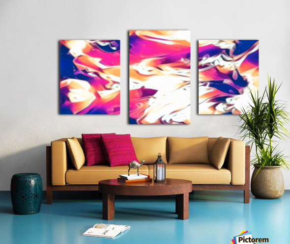 Very Berry - white blue pink orange swirl abstract wall art Canvas print