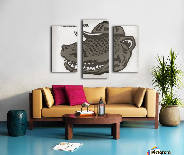 Vintage Florida Gator Art Reproduction Print Black and White Canvas print