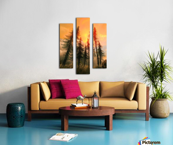 Pine Woods Sunset Fantasy Canvas print