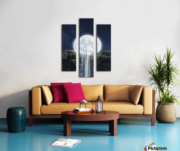 Moon Waterfall Fantasy Canvas print