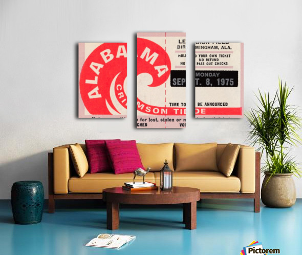 University of Alabama Crimson Tide Football Ticket Stub Art Poster Canvas print