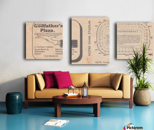 Retro Stadium Maps_Notre Dame Stadium Map_1982_South Bend Indiana Maps_Godfathers Pizza Ad_Artwork Canvas print