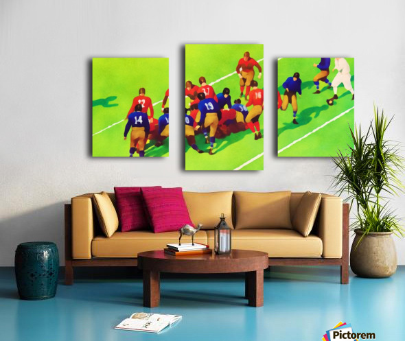 Vintage Football Art Sunny Day Gridiron Artwork Canvas print
