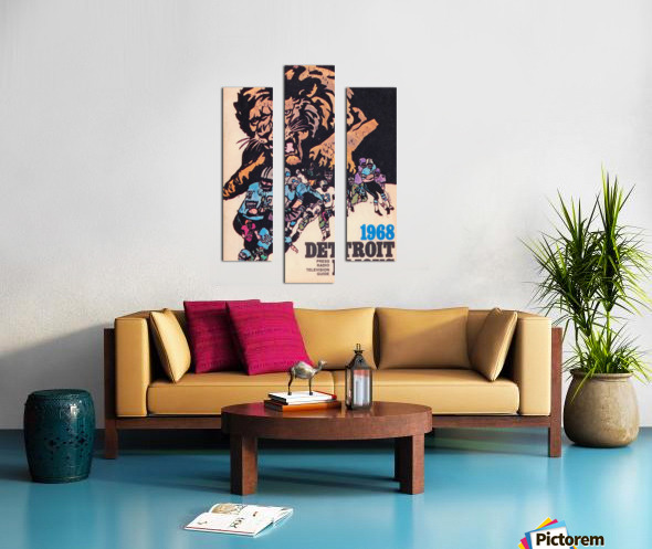 1968 Detroit Lions NFL Press Guide Reproduction Art_Detroit Michigan Gift Ideas Canvas print