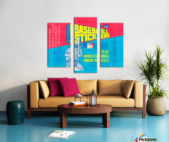 vintage fleer mlb baseball sticker package art design reproduction art Canvas print