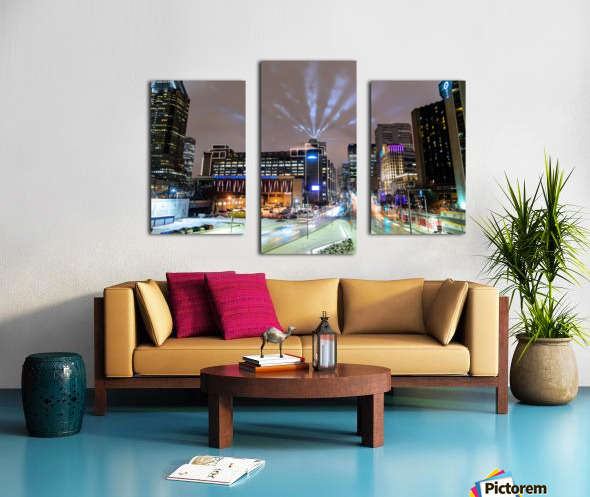 Close up city buildings at night Canvas print