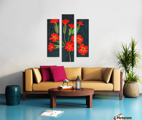 Red flowers shining in a magical starry night Canvas print