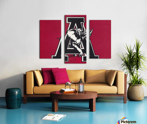 vintage alabama a elephant artwork 1982 college poster Canvas print