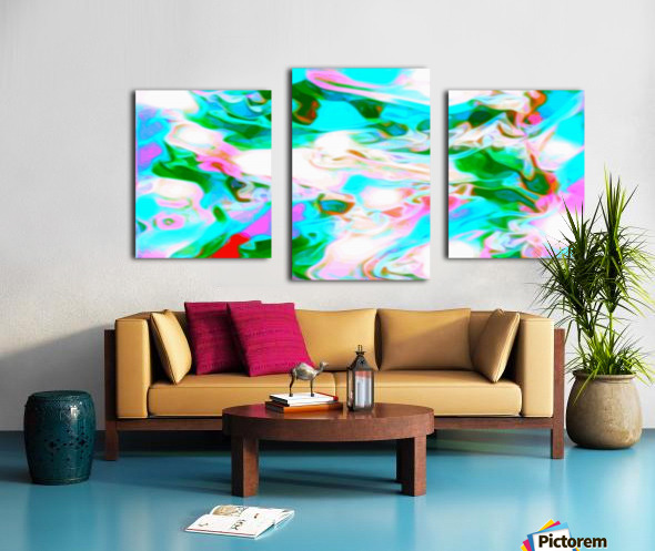 Angelic High - white blue red pink multicolor swirl abstract wall art Canvas print