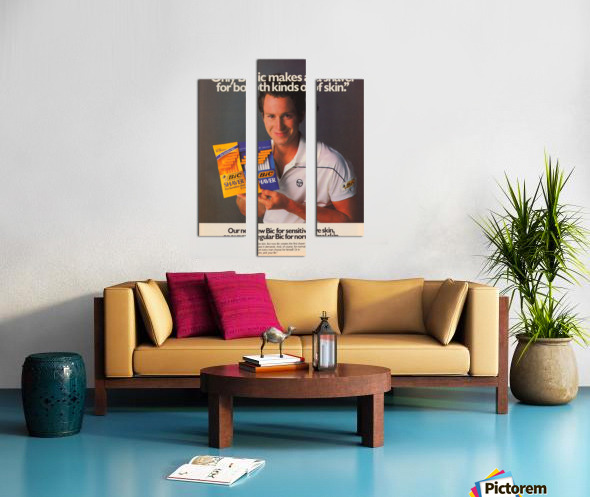 row one vintage sports ads retro bic shaver john mcenroe tennis poster Canvas print