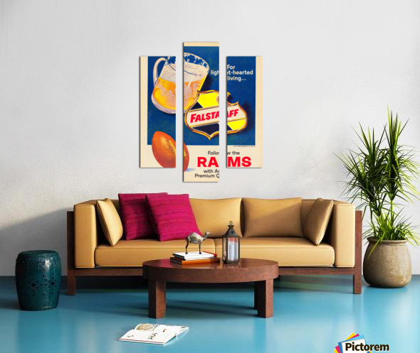 vintage falstaff beer ad poster la rams retro football metal sign Canvas print