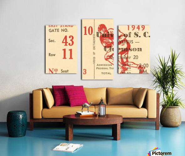 1949 south carolina gamecocks palmetto bowl ticket stub wall art metal sign wood prints Canvas print