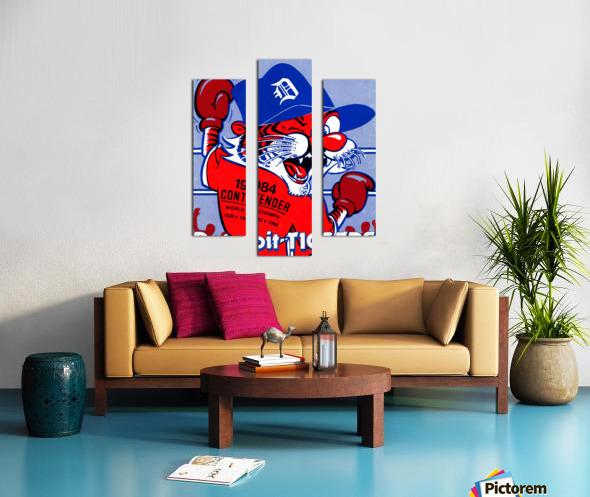 vintage detroit tigers poster retro sports art 1980s posters Canvas print