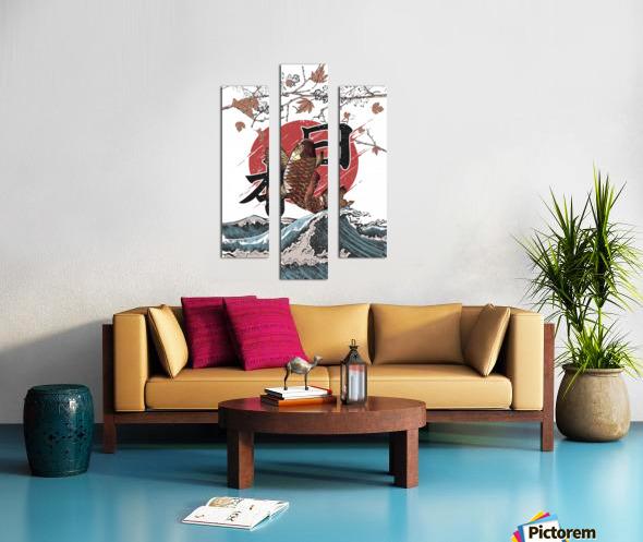 Koi fish fly waves Canvas print