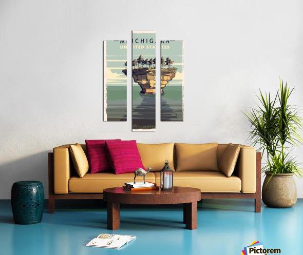 michigan retro poster usa michigan travel illustration united states america Canvas print