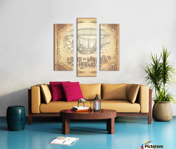 Vector steampunk poster illustration fantastic wooden flying ship Canvas print