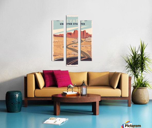 nevada retro poster usa nevada travel illustration united states america Canvas print