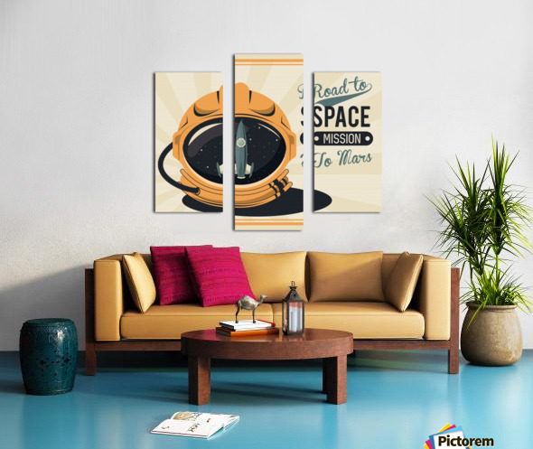 Life space vintage poster with set scenes Canvas print