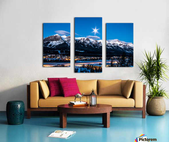 Canmore Morning Moon Over Rundle Mountain Canvas print
