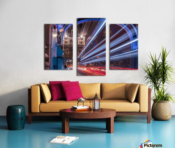 Light trails along Tower Bridge London Canvas print