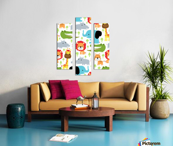 seamless pattern vector with animals cartoon Canvas print