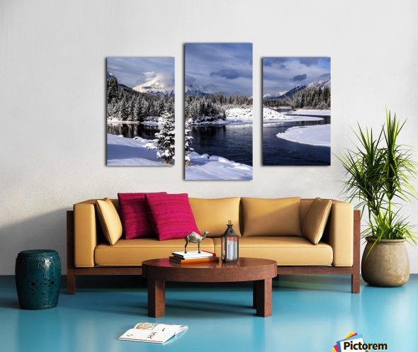 Snowy Bow River Canmore Alberta Canvas print