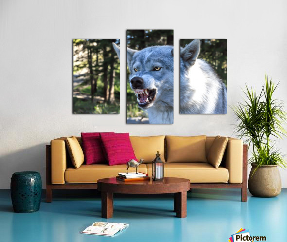 Wolf Dog Snarling Canvas print