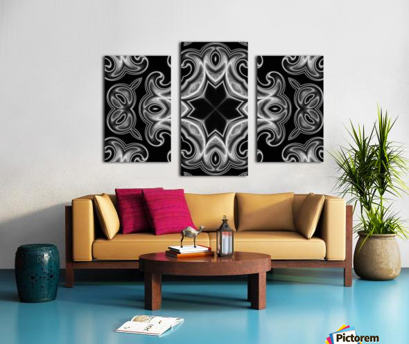 Classic Fractal in black and white Canvas print