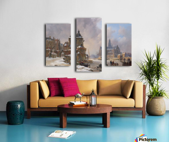 Winter cityscape with frozen river Canvas print