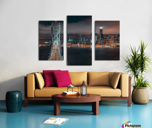 San Francisco Skyline at Night With The Bay Bridge Canvas print