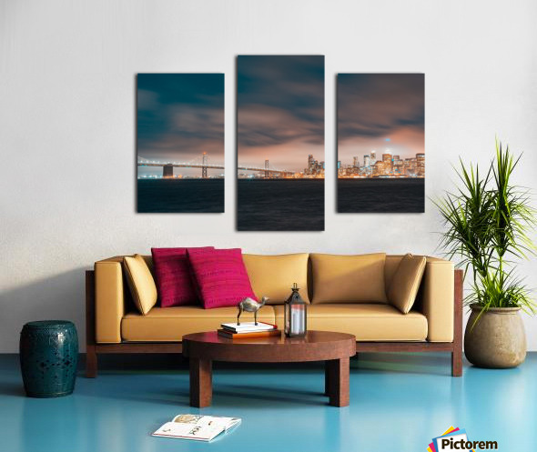 Cloudy San Francisco Night Skyline Canvas print