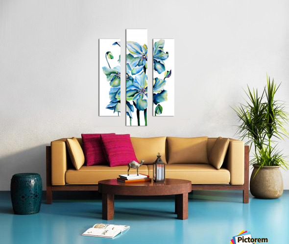 Blue Poppies Watercolor Canvas print
