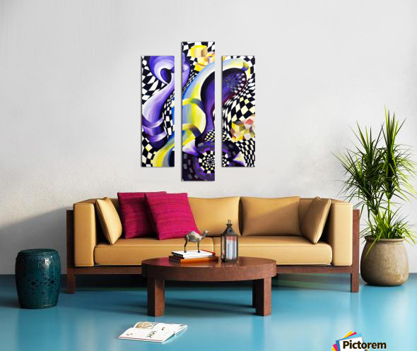 80s Geometric Abstract Watercolor Canvas print