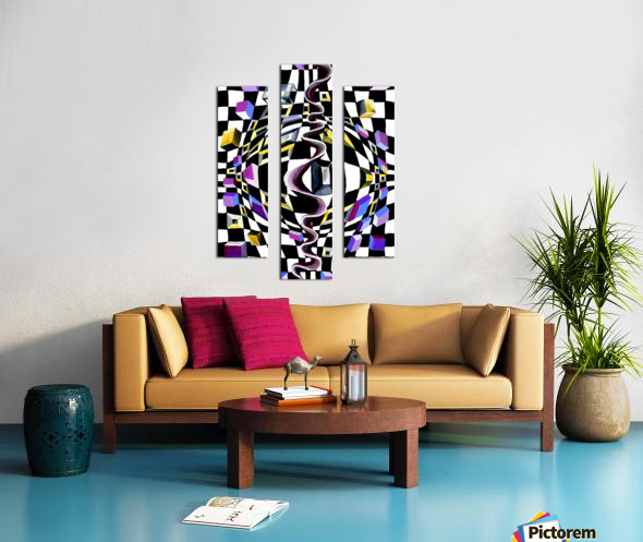 Watercolor Abstract Chess Pattern Canvas print