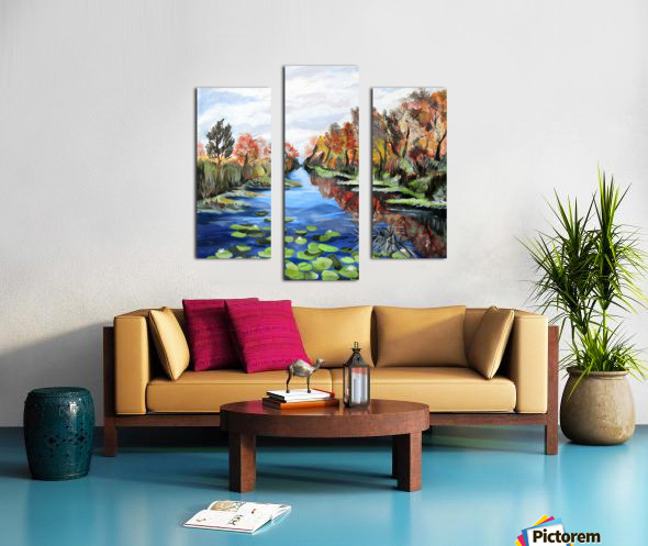 Danube River Watercolor Seascape Canvas print