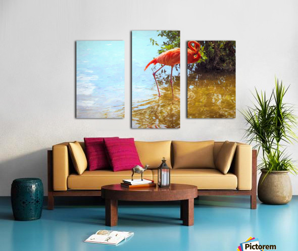 Pink Flamingo Wading In Water Canvas print