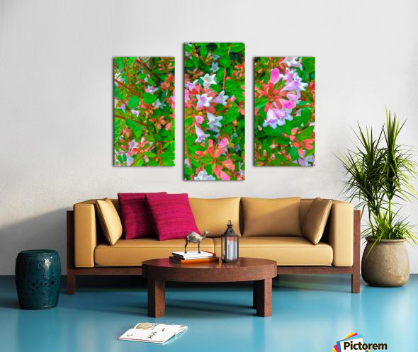 closeup blooming pink flowers with green leaves Canvas print