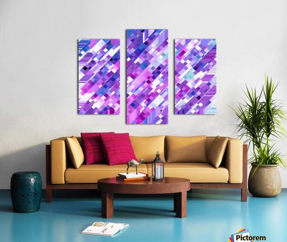 geometric square pixel pattern abstract background in purple pink Canvas print