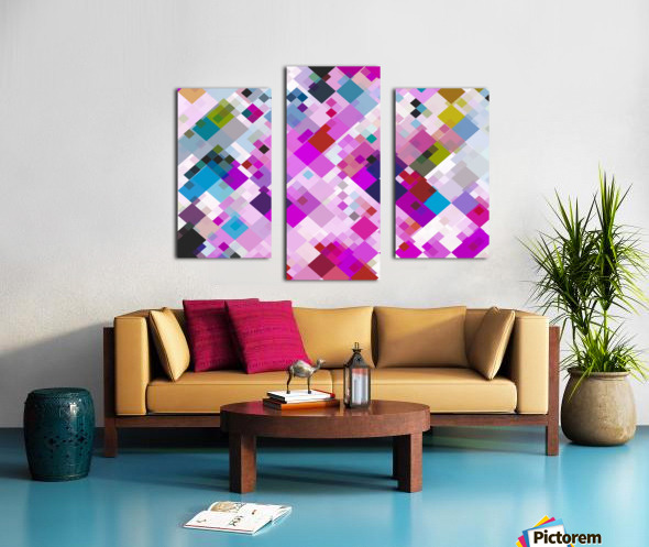 geometric square pixel pattern abstract background in pink blue yellow Canvas print