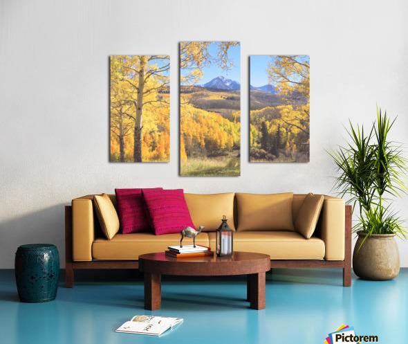 Sunshine Peak through the Aspen Canvas print