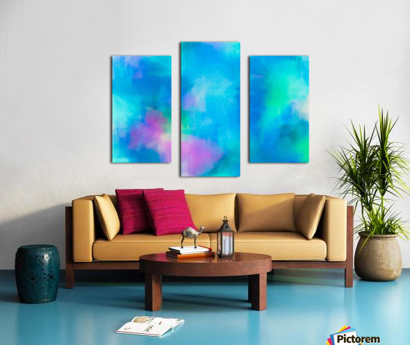 splash painting texture abstract background in blue and pink Canvas print