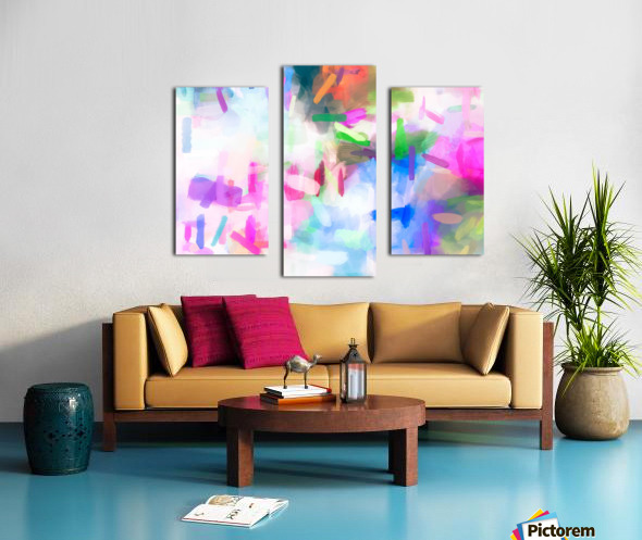 splash painting texture abstract background in pink blue green Canvas print