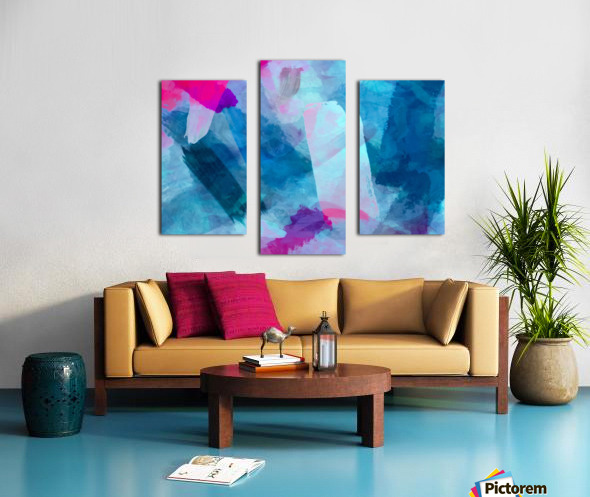 splash painting texture abstract background in blue pink Canvas print