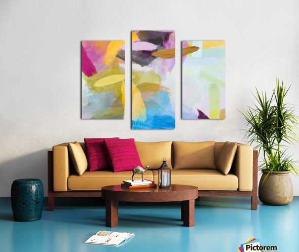 splash painting texture abstract background in yellow blue pink Canvas print