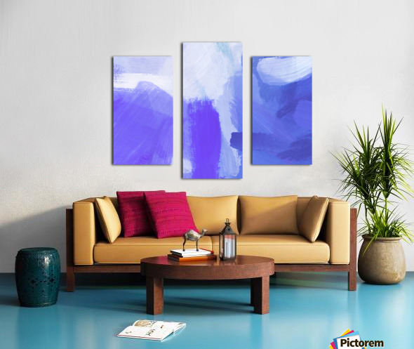 splash painting texture abstract background in blue and purple Canvas print