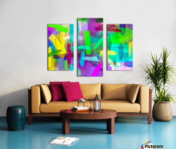 splash brush painting texture abstract background in green blue pink purple Canvas print