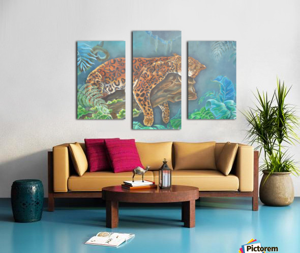 Gorgeous leopard resting in the jungle during the day Canvas print