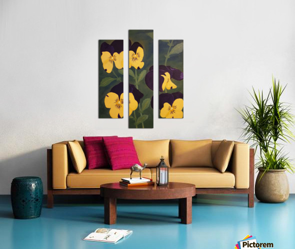 Yellow and purple pansies Canvas print