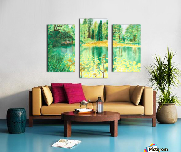 Wallington Hall pond Canvas print