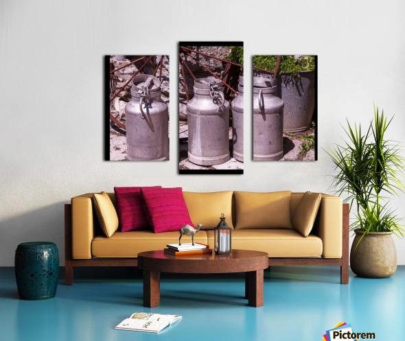 rustic milk cans Canvas print